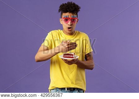 Celebration, Party And Holidays Concept. Portrait Of Happy Funny, Enthusiastic Young Man Celebrating
