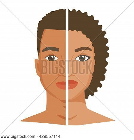 Halves Of Black Woman And Man Face. Similarity And Difference Between Men And Women. Male Vs Female