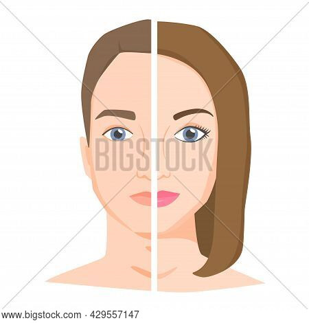 Half Woman And Half Man Face. Similarities And Differences Between Man And Woman. Male Vs Female Opp