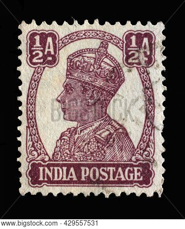 ZAGREB, CROATIA - SEPTEMBER 11, 2014: Stamp printed in India shows portrait of George VI (1895 -1952), circa 1941