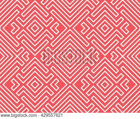 Abstract Geometric Pattern. A Seamless Vector Background. White And Pink Ornament. Graphic Modern Pa