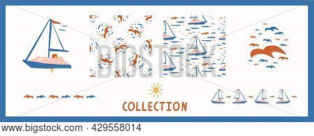 Whimsical Henri Matisse Style Cut Out Shape Boat Pattern Set. Seamless Collage Retro Allover Print C