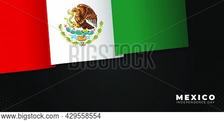 Mexico Independence Day With Waving Mexico Flag Design. Good Template For Mexico Independence Day Or