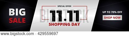 11.11 Shopping Day Big Sale Promotion Wide Horizontal Banner. 11 November Sale Banner Design Templat