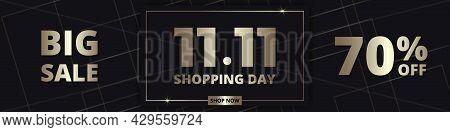 11.11 Shopping Day Golden Luxury Elegant Hot Sale Promotion Wide Banner. 11 November Sale Horizontal