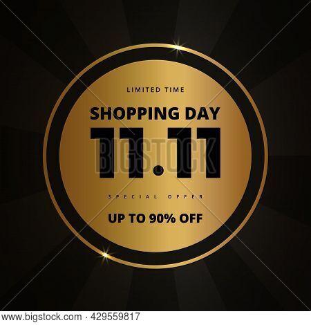 11.11 Shopping Day Golden Luxury Elegant Hot Sale Promotion Banner. 11 November Sale Banner Template