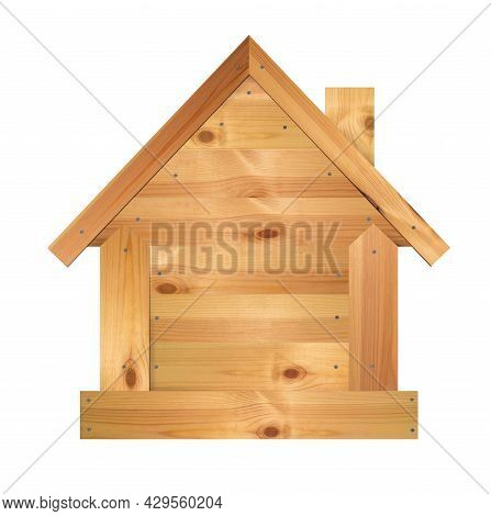 Wooden House Isolated On A White Background. Home Made Of Boards, Nailed. Wood And Nail, Craft Art.
