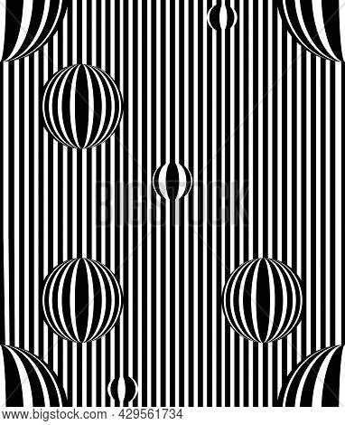 Vector - Optical Art, Optical Illusion Pattern, Black And White Background