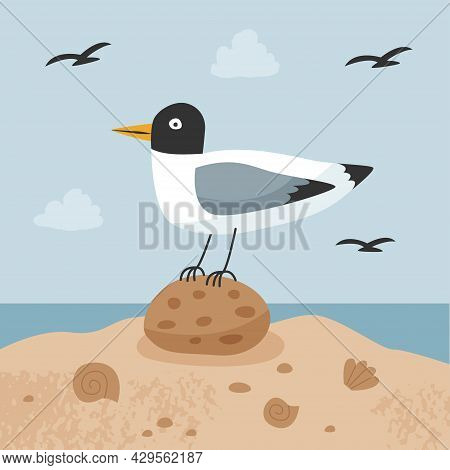 Vector Scene With Seagull On A Background Of The Sea And Sky. Seagull Sits On A Stone. Vector Flat I