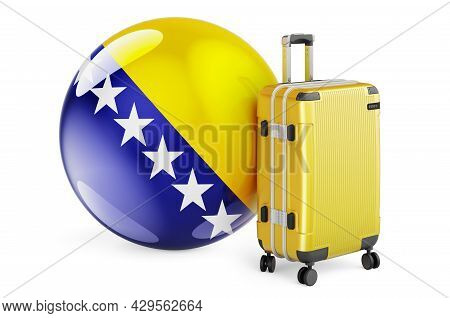 Suitcase With Bosnian Flag. Bosnia And Herzegovina Travel Concept, 3d Rendering Isolated On White Ba