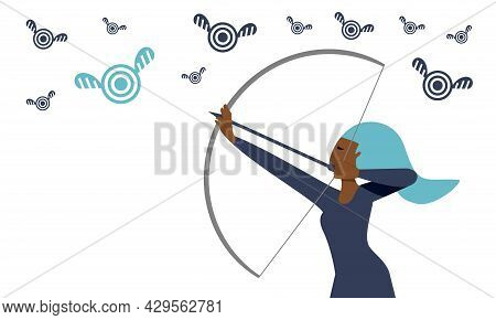 Black Business Woman, Freelancer, Office Worker Aims For A Target Concept Illustration