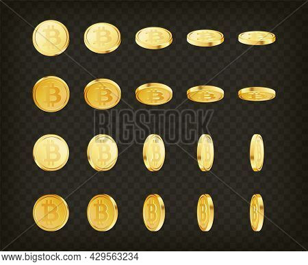 Golden Cryptocurrency Crypto Cash, Money Set. Rotating Gold Bitcoin Coins