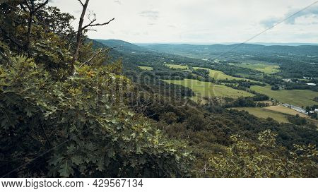 View From Top Of Stairway To Heaven Trail In The Appalachian Mountains With Green Pines And Summer M