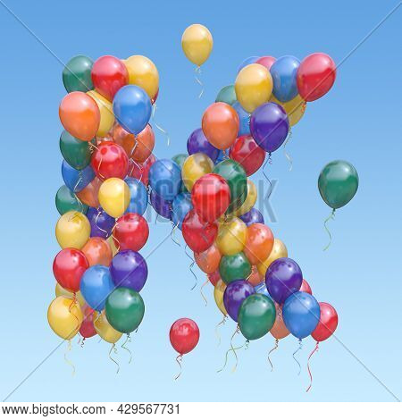 Letter K from balloons in the sky. Text letter for  holiday, birthday, celebration. 3d illustration