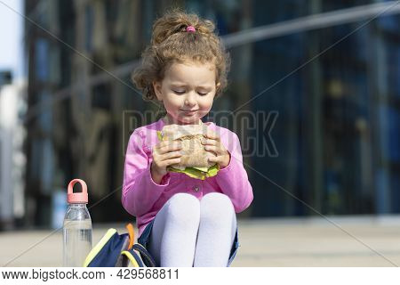 Beautiful Cute Child With Appetite Eating Fast Food, Portrait. Happy Girl Biting Homemade Sandwich.