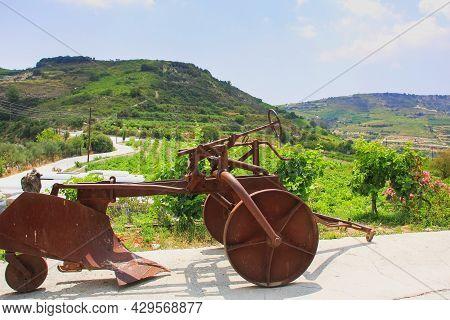 Nostalgia. New Usage Of Obsolete Agricultural Tillage Farm Equipment As Vineyard Decoration.rural La