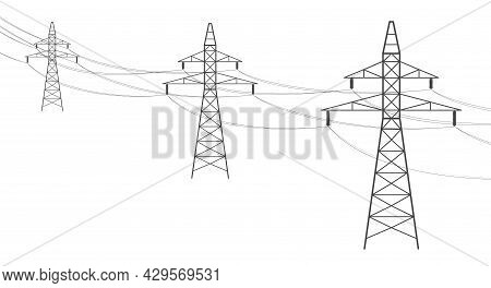 Overhead Power Line. Electric Power Transmission, High Voltage Power Lines Supplies Electricity. Ele