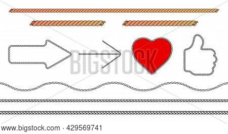 Rope Arrow, Heart And Thumbs Up Set. Cord Icons. Flat Vector Illustration Isolated On White Backgrou