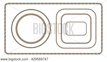Brown Rope Frame Set. Flat Vector Illustration Isolated On White Background.