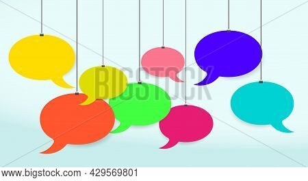 Multicolored Empty Speech Bubbles Hanging On Strings. Round Chat Boxes Hangs On Stationery Clips. 3d