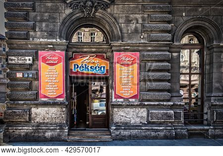 Budapest, Hungary, March 2020, View Of Friss Pékség A Bakery In The Capital
