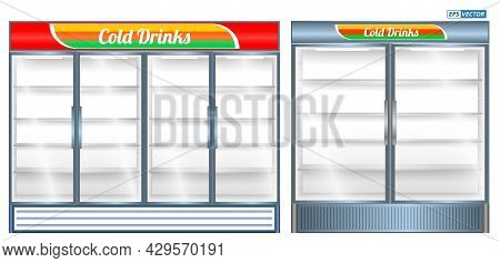Set Of Realistic Refrigerator Showcase Isolated Or Commercial Refrigerator Cooling Drinks Fridge Fre