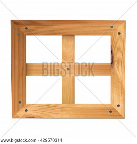 Square Wooden Window Isolated On White Background. Wood Texture Planks, Four-section Window Opening