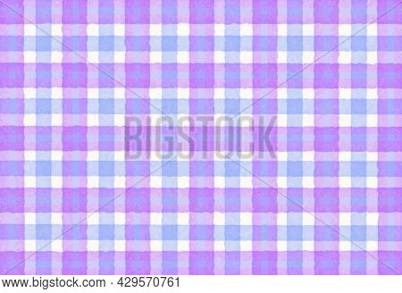 Blue Lavender Lilac Checkered Old Vintage Background With Blur, Gradient And Grunge Texture. Classic