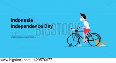 Illustration Vector Graphic Of Little Boy Wearing A Mask Celebrating Indonesia's Independence Day