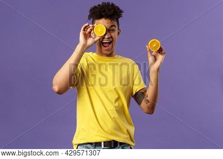 Holidays, Vitamins And Vacation Concept. Portrait Of Carefree, Upbeat Good-looking Man Having Fun, L