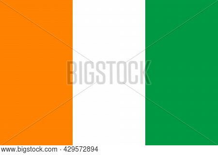 National Flag Of Ivory Coast Original Size And Colors Vector Illustration, Drapeau De La Cote Divoir