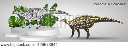 Scelidosaurus On The Podium In Tropical Leaves. Ornithischian Dinosaur. Colorful Vector Illustration