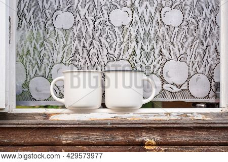 Two Mockup Mugs, Set Of 2 White Double Mug Mock Up On Windows Old Wooden House. Farmhouse Rustic Sty