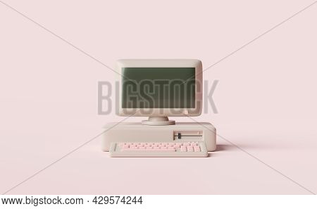 Old Desktop Computer Monitor With Blank Screen,keyboard Isolated On Pink Background.concept 3d Illus
