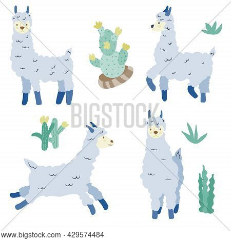 A Set Of Isolated Items. Blue Llamas And Plants. Animals. Lama In Different Poses. Vector In Flat St