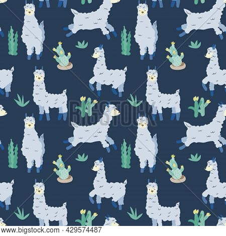 Seamless Pattern On A Dark Background. Blue Llamas And Plants. Animals. Lama In Different Poses. Vec