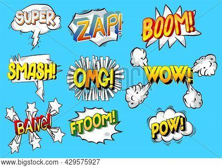 Super, Zap, Boom, Smash, Omg, Wow, Bang, Ftoom, Pow - Cartoon Words, Text Effect. Speech Bubble. Com
