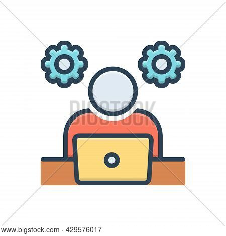Color Illustration Icon For Practicality Practical Efficiency Gumption