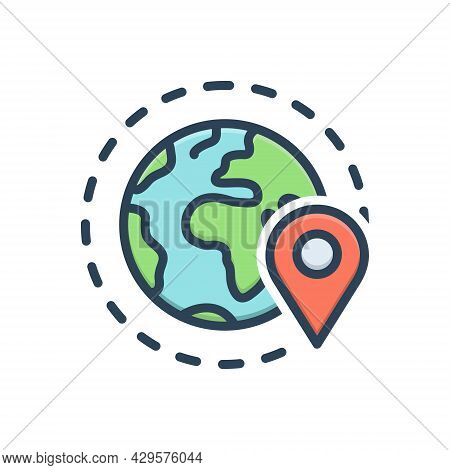 Color Illustration Icon For Periphery Geo-zone Geo Gps  Location  Navigation Pointer Locally App Loc