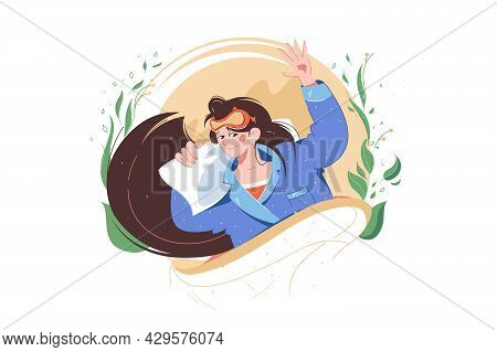 Woman Wake Up In Morning Vector Illustration. Girl Character In Pyjamas On Pillow And Sleeping Mask