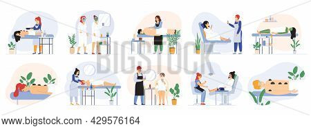 Spa Beauty Wellness Massage Salon Procedure Services. Wellness Beauty Salon Workers And Visitors Vec