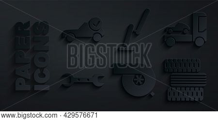 Set Automotive Turbocharger, Car Transporter Truck, Wrench Spanner, Tire Wheel, Windscreen Wiper And