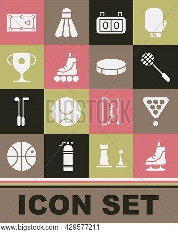Set Skates, Billiard Balls In Rack Triangle, Tennis Racket, Sport Mechanical Scoreboard, Roller Skat