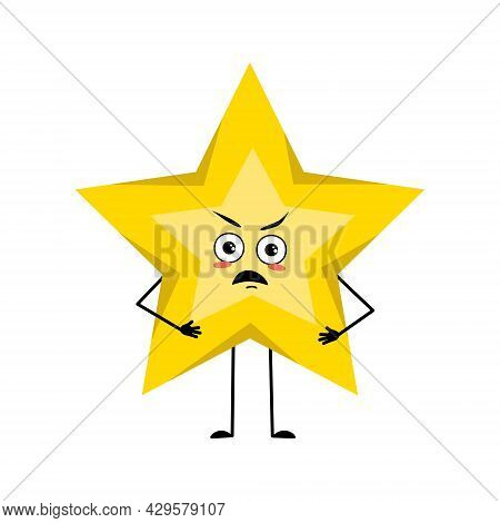 Cute Star Character With Angry Emotions, Grumpy Face, Arms And Legs. Space And Weather Symbol With F