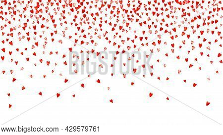 Valentines Day Heart With Red Glitter Sparkles. February 14th Day. Vector Confetti For Valentines Da