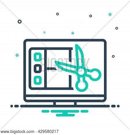 Mix Icon For Edition Editing Program Publication Video-editing Movie Filmstrip Multimedia Scissors