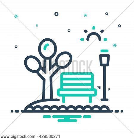 Mix Icon For Park Garden Belvedere Garth  Meadow Field Steppe Bench Tree Street-lamp
