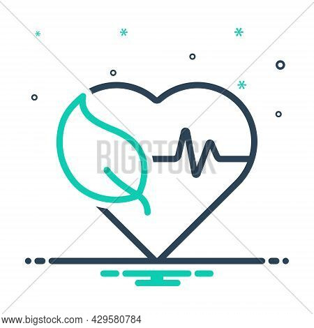 Mix Icon For Health Well-being Ehealth Healthcare Heartbeat Heart