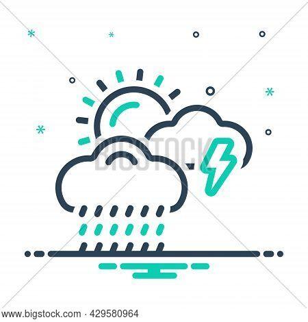 Mix Icon For Weather Storm Thunder Burr Rumble Rain Rainfall Raindrops Wet-weather  Drizzle Cloudbur