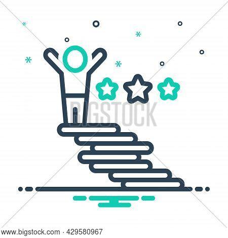 Mix Icon For Achieve Obtain Enlist Reach Attain Success Achievement Ladder Ambition Career Goal